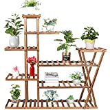 Yimobra Wood Plant Shelf Indoor Outdoor, Multi Tiered Plant Stand for Multiple Plants, Plant Flower Pot Rack Display Shelves for Garden Corner Living Room Balcony Patio (with a Pair of Gloves)