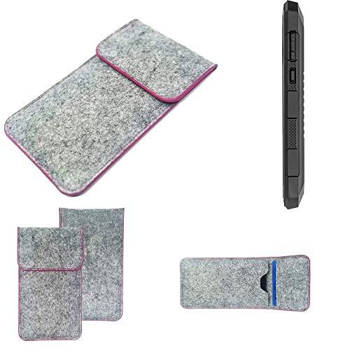 K-S-Trade Handy Schutz Hülle Für Cyrus CS 24 Schutzhülle Handyhülle Filztasche Pouch Tasche Hülle Sleeve Filzhülle Hellgrau Pinker Rand