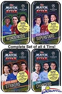 2019/20 Topps Match Attax Champions League Soccer EXCLUSIVE Collectors Set of (4) MEGA TINS with 240 Cards Including Limited Edition Cards of Ronaldo, Lionel Messi, Mbappe & 60 Subset Cards! WOWZZER!
