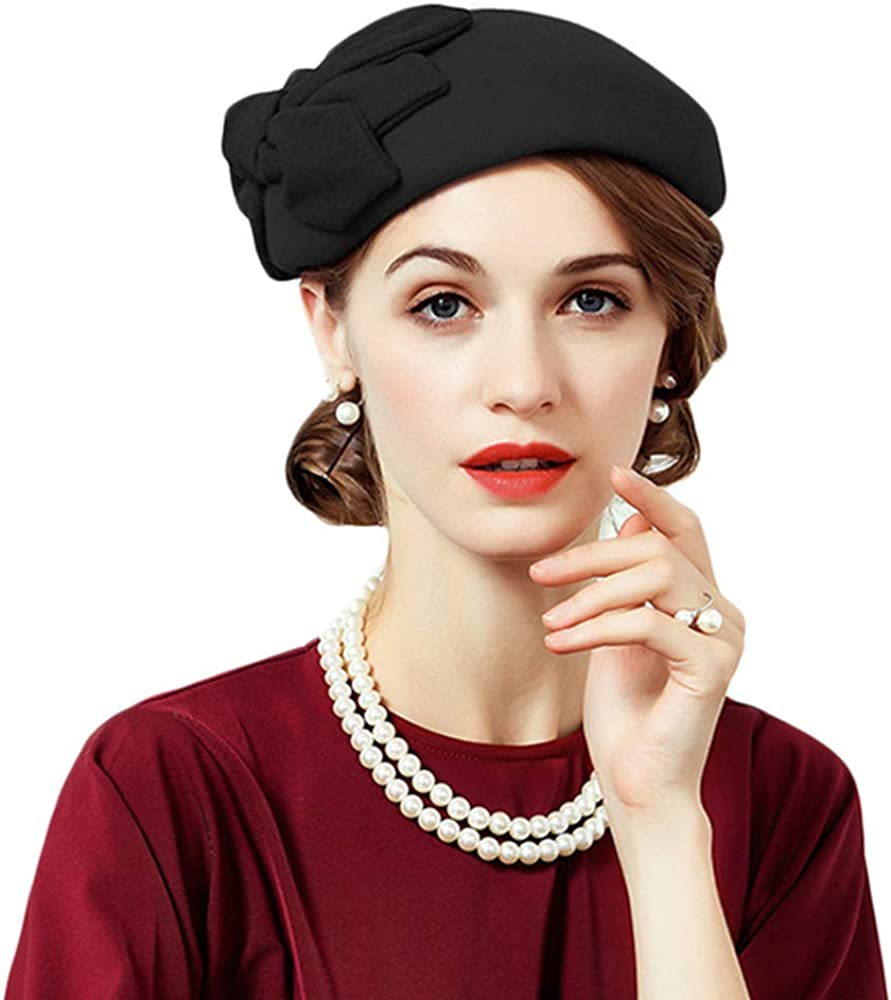 F FADVES Women's Pillbox Calot Hat Formal Vintage Wedding Tea Party Fascinators with Bow