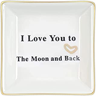 Birthday Gifts for Mom-I Love You to The Moon and Back Jewelry Trays from Daughter or Son-Ring Dish Trinket Necklace Organ...
