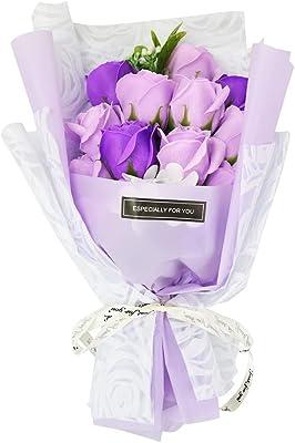 ソープフラワー 薔薇 花束 ギフトボックス プレゼント 贈り物 記念日 お祝い (パープル)