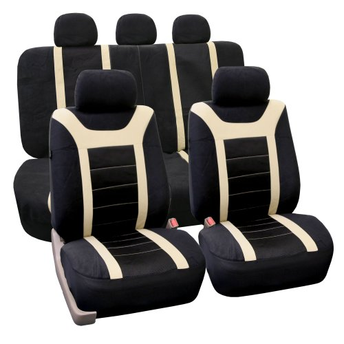 FH Group Universal Fit Full Set Sports Fabric Car Seat Cover with Airbag & Split Ready, (Beige/Black) (FH-FB070115, Fit Most Car, Truck, SUV, or Van), FB070BEIGE115