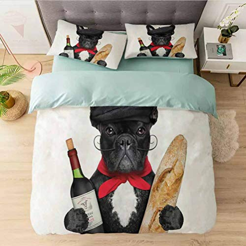 Luxury 3 Piece Duvet Cover Set King, French Dog in a Hat with Red Wine and Baguette Bread Gour, Comforter Cover Set 1 Comforter Cover with 2 Pillow Shams Ultra Soft Hypoallergenic Microfiber