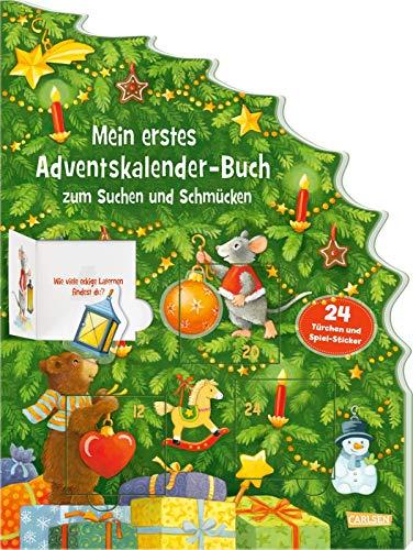 Mein erstes Adventskalender-Buch zum Suchen und Schmücken - Mit 24 Türchen und Spiel-Stickern: Mit großen Wimmelbildern und 24 Klappen, Suchfragen und Weihnachtsbaumschmuck-Stickern - ab 2 Jahren