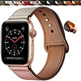 Qeei Cinturini Pelle Compatible with Apple Watch 40mm 38mm,Innovativo Cinturino in Vera Pelle Fibbia Nascosta Band Ricambio per iWatch SE Series 6 & 5 4 3,Rosa Beige