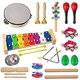 Kmise Instrumentos Musicales para niños pequeños 20 Piezas Juguetes Musicales para bebés batería Instrumentos de percusión para niños Preescolar Educativo y Divertido con pandereta xilófono