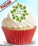 24x vorgeschnittenen Happy Birthday B II. B essbarem Reispapier/Waffel Papier Cupcake Kuchen Dessert Topper Spring Party Dekorationen