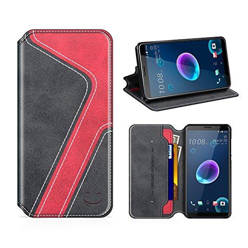 MOBESV Smiley HTC Desire 12 Hülle Leder, HTC Desire 12 Tasche Lederhülle/Wallet Hülle/Ledertasche Handyhülle/Schutzhülle mit Kartenfach für HTC Desire 12, Schwarz/Rot