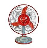 Lovely Solar Fan DC 12Volt - 20Watt, 12' A-One Table Fan (Double Speed, Red & Grey)