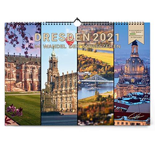 Dresden 2021   Im Wandel der Jahreszeiten   Dresdens schönster Kalender mit den traumhaften Motiven von Hans Fineart ist zurück   Wandkalender A3 quer   Kalender Sachsen   Fotokalender