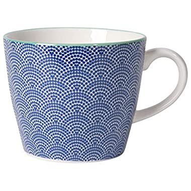Now Designs Waves Stamped Mugs (Set of 6), 12 oz, White/Blue