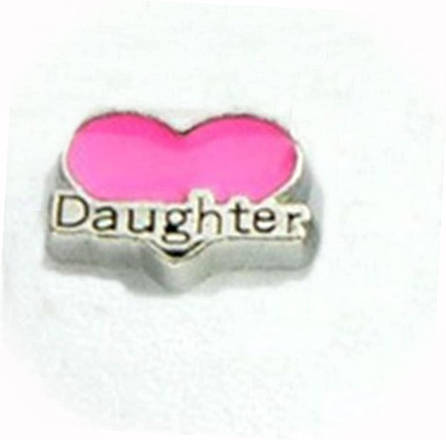 New Raleigh Mall Pink Daughter Heart Silver 10mm for Department store Lo Charm Memory Floating