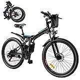 Bicicleta Eléctrica E-Bike, Bicicleta Eléctrica Plegable de 26'' 250W con Batería Extraíble de 8Ah, Profesional de 21 Velocidades, Bicicleta de Ciudad para Hombres y Mujeres