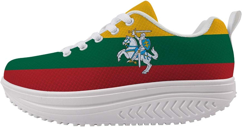 Owaheson Swing Platform Toning Fitness Casual Walking shoes Wedge Sneaker Women Lithuania Flag National Emblem