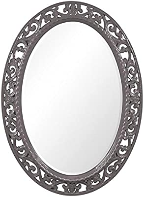 Howard Elliott Suzanne Oval Hanging Wall Mirror, Ornate Scroll Pattern Resin Frame, Charcoal Gray, 27 x 37 Inch