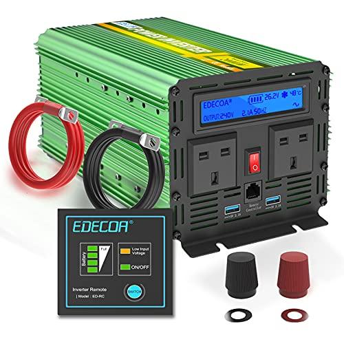 EDECOA 2000W 24V Power Inverter DC 24V to 240V 230V 220V AC with LCD Display, Remote Control and...