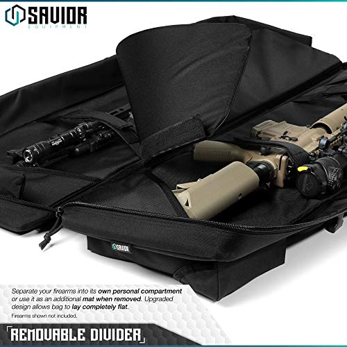 Savior Equipment Urban Warfare Tactical Double Carbine Long Rifle Bag Gun Case Firearm Backpack w/Pistol Handgun Case - 36 Inch Obsidian Black