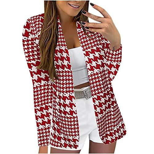 SHOBDW Camisetas Chaqueta Blázer Mujer 2021 Cardigan Estampados De Florales Cardigan Mujer Casual Talla Grande Larga Abrigo de Invierno Liquidación Venta(Rosado,S)