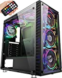 MUSETEX ATX Mid-Tower Computer Gaming Case with 6 PCS × 120mm LED ARGB Fans USB 3.0 Port Tempered Glass PC Case(G05-MS6-HB)