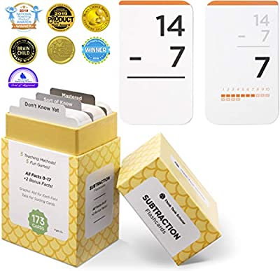 Think Tank Scholar 173 Subtraction Flashcards   All Facts 0-17 Color Coded   Best for Kids in Kindergarten,1st, 2nd, & 3rd Grade by Think Tank Scholar