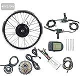 GJZhuan De Ruedas eléctrica Accesorios de la Bicicleta Kit 48V 250W Trasera de la Bicicleta eléctrica Kit de conversión de Motor sin escobillas con LCD5 Display 16-28 Pulgadas 700C,24inch LCD Sets