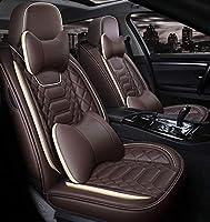 カーシートカバー5席フルセットユニバーサルカーシートはフェイクレザーエアバッグ互換性のあるフェイクレザーPUカーシートカバー、前面と背面シートのセット、スポーツカーシートカバーをカバー,ブラウン,Luxury