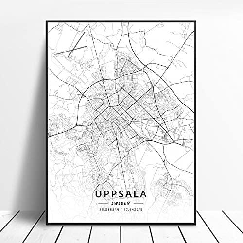 Lldkoplng Uppsala Linkoping Malmö Trollhättan Helslngborg Sweden Canvas Art Map Poster ?ZQ-1394? Ingen ram poster 40x50cm
