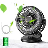 10000mAh Rechargeable Battery Operated Clip on Fan, 4-Speed Stronger Airflow Portable USB Fan with Max 40Hours Working Time (Black)