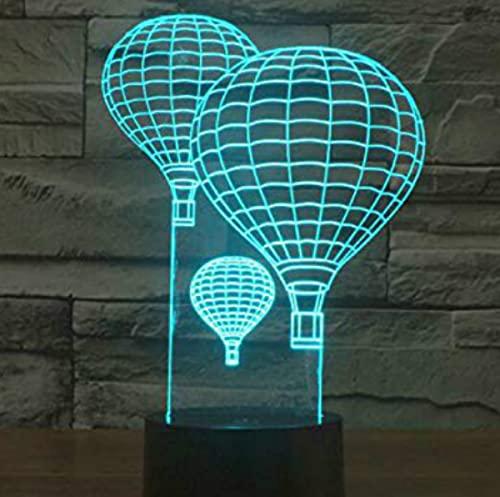 3D LED lámparas Globo de aire caliente ilusion optica luz de noche 7 colores Contacto Arte Escultura luces con cables USB Lampara Decoracion Dormitorio escritorio mesa para niños adultos