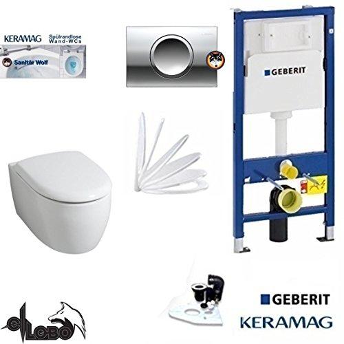 Geberit Duofix Vorwandelement, KERAMAG ICON XS WC Spülrandlos Komplettset + Deckel *Kein Softclose*, Keratect, Schallschutz, Delta 11 chrom
