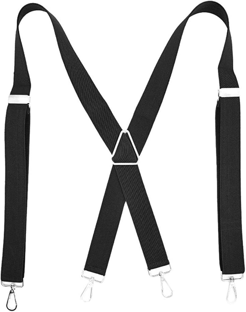 A2A Suspenders for Men Women Adjustable Elastic Wide Band with Heavy Duty X Back Style Metal Clips