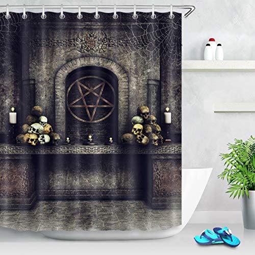 zhangqiuping88 Halloween-Totenkopf-Duschvorhang, langlebiger Stoff, schimmelresistent, mit 12 Haken, 180 x 180 cm