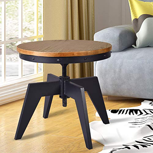 Lisuden Industrial Coffee Table 24' D Round Small Wood Coffee Accent Table for Living Room Height...
