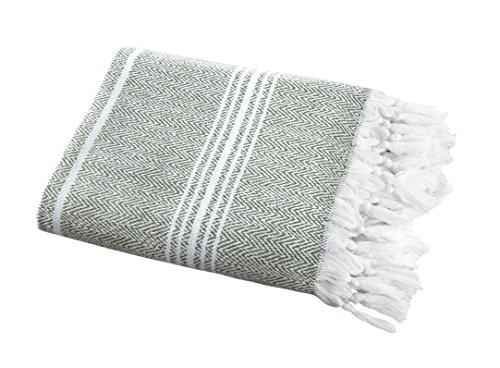 "SALBAKOS Incredibly Soft, Turkish Peshtemal Fouta Towel, Eco-Friendly and Oeko-Tex Certified 100% Cotton, Herringbone for Spa Bath Pool Sauna Picnic Throw Blanket | Toallas De Baño (40""x70"", Green)"