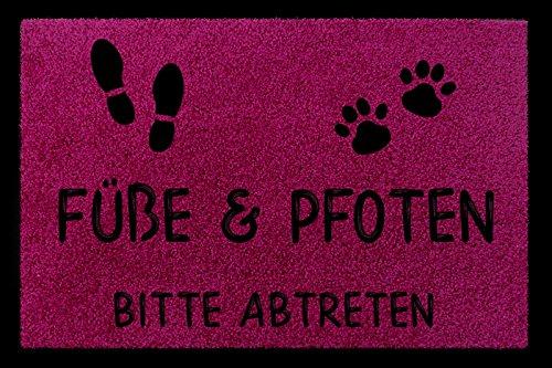 FUSSMATTE Türmatte FÜSSE & PFOTEN BITTE ABTRETEN Haustier Hund Katze Eingang Fuchsia