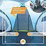 Skandika Hammerfest Family Dome Tent with 2 Sleeping Cabins, 200 cm Peak Height, Blue, 4-Person 7