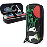 Bamboo And Panda Pu Leather Pencil Case, Bolígrafo De Gran Capacidad, Organizadores De Papelería Duraderos Para Estudiantes Con Cinturones Elásticos De Doble Cremallera