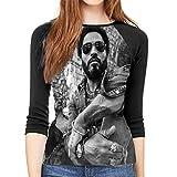 Photo de T-Shirt Femme Manches 3/4,t Shirts pour Femmes Lenny Kravitz Women's Fashion Casual 3/4 Sleeves Shoulder Round Neck Baseball T-Shirt à Manches Longues Ladies' Autumn Tops - - Medium