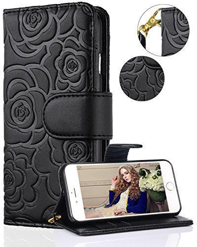 iPhone 7/iPhone 8/iPhone SE 2020 Wallet Case,FLYEE Flip Wallet Leather [kickstand] [Emboss Flower] Magnetic Protective Cover with Card Slots and Detachable Wrist Strap for iPhone 7/8/SE 4.7 Inch Black