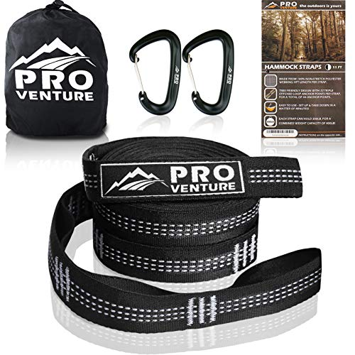 Pro Hammock Tree Straps with CARABINERS – 400LB Rated (1200LB Tested), Adjustable Loops, Non-Stretch, Easy Setup, Heavy Duty, Tree Friendly (11 Feet, White)
