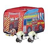 Relaxdays 3 TLG. Feuerwehr Set, Spielzelt Feuerwehr, 2X Feuerwehrhelm Kinder, Kinderzelt für...
