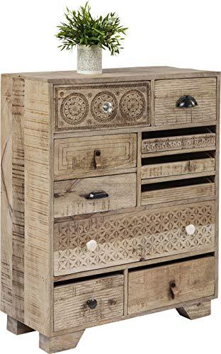 Kare Design Kommode Puro 10 Schübe, schmales, modernes Sideboard, Kommodenschrank, Beige (H/B/T) 90x70x30cm