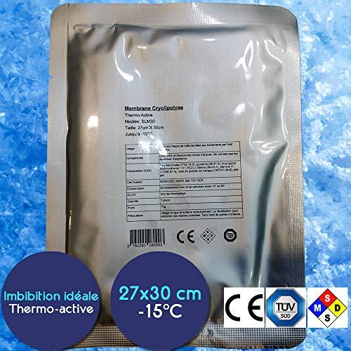 Lot 10 Membranes Cryolipolyse 27cm x 30cm - Certification 93/42/CEE - Effet Thermo-Actif - Pré-imbibées (70g) - jusqu'à -15°C compatibles toutes marques - Etiquetage en français