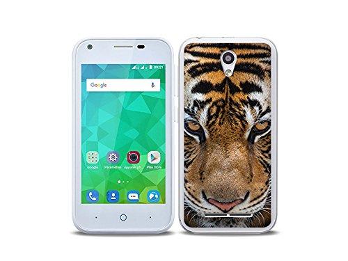etuo Handyhülle für ZTE Blade L110 - Hülle Foto Hülle - Blick von Tiger - Handyhülle Schutzhülle Etui Hülle Cover Tasche für Handy