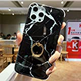 Anynve Marble Case Compatible with iPhone 12 / iPhone 12 Pro, Reinforced Raised Corners TPU Cushion & Shockproof Hard Back Slim Case with Metal Rotating Kikstand Ring Holder [6.1 Inch]-Marble Black