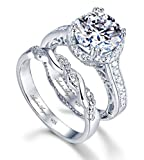 Engagement Ring Wedding Rhodium Plated Sterling Silver 925 100% Solid Cubic Zirconia Stones AAAAA+ Alternative to Diamonds 1.25 Carat Promise Anniversary Bridal Valentines Victoire Design (7)