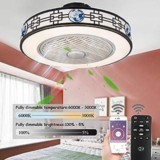 LED Ventilador De Techo Infantil,Ventiladores De Techos Con Iluminación Remoto Control Regulable Velocidad Del Viento Ajustable 80W Silenciosa Invisible Ventilador De Techo Sin Aspas,50cm(c)