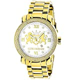 Oversized Yellow Gold Plated Real Diamond Watch for Men by LUXURMAN Phantom 0.12ct White MOP