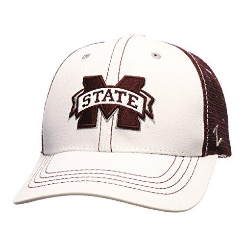 Mississippi State Bulldogs WhiteBoard Adjustable Snapback Cap - NCAA Trucker Mesh, One Size Baseball Hat